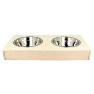 2 cuencos de acero inox + soporte de madera