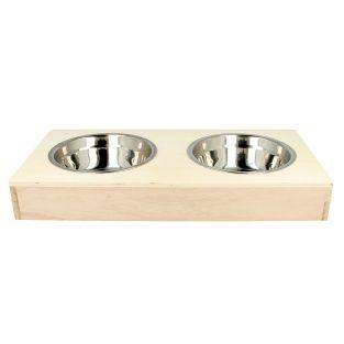 2 stainless steel bowls + wooden stand