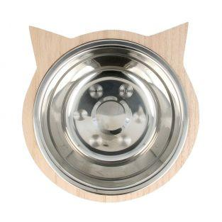 Cat's stainless steel bowl with cat head