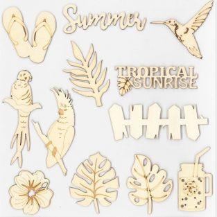 12 formes en bois décoratives - Paradis tropical