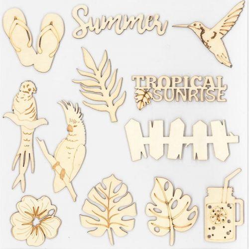 12 decorative wood shapes - Tropical paradise