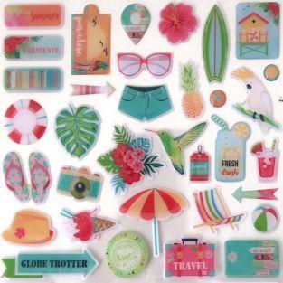34 stickers Epoxy - Paradis tropical