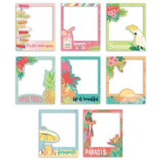 8 polaroid Die-cuts - tropical paradise