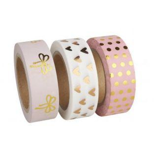 3 Washi tapes 10 m - Rosa-oro