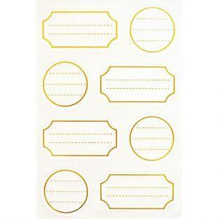 32 étiquettes autocollantes blanches à contour doré