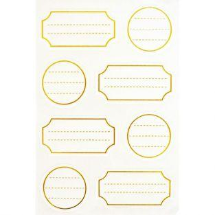 32 white self-adhesive labels with golden outline