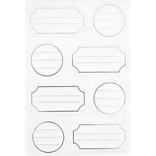 32 etiquetas adhesivas blancas con un contorno plateado
