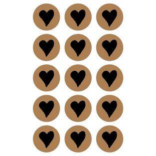 60 stickers ronds Ø 2,6 cm avec coeur noir
