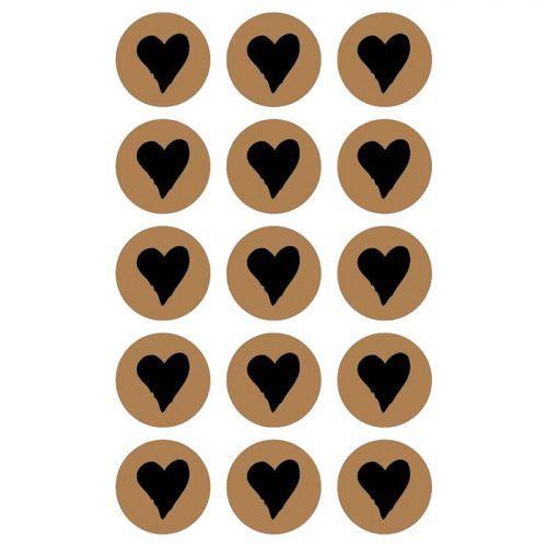 60 round stickers Ø 2,6 cm with black heart