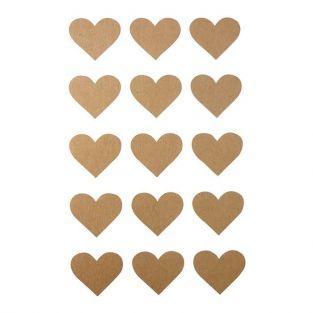 60 stickers coeur kraft 2,6 x 2,2 cm