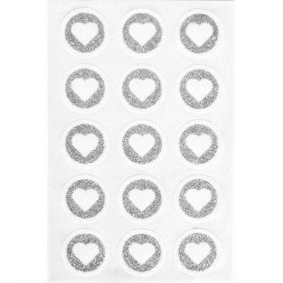 60 stickers ronds Ø 2,6 cm avec coeur en paillettes - Argenté