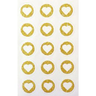 60 round stickers Ø 2,6 cm with glitter heart - Gold