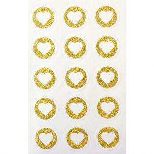60 stickers ronds Ø 2,6 cm avec coeur en paillettes - Doré
