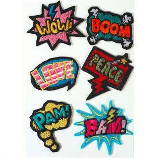 6 Hot Fix fusible textile patches - Wow Boom Love Peace Pam Bam