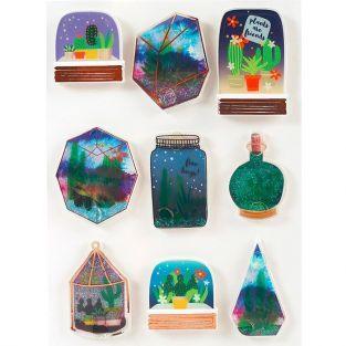9 stickers 3D Succulentes en bocal