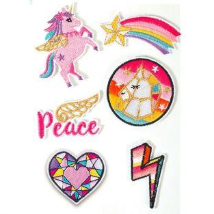 6 Hot Fix fusible textile patches - Unicorn