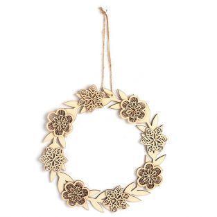 Décor à suspendre en bois 22 x 22 cm - couronne de Fleurs