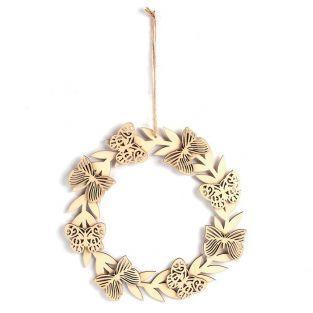 Décor à suspendre en bois 22 x 22 cm - Papillons