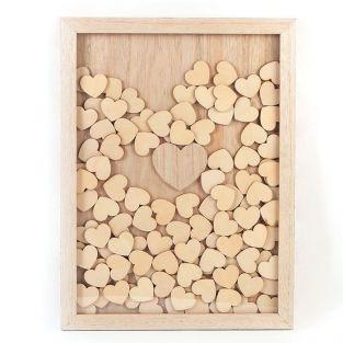 Cadre en bois personnalisable 30 x 42 cm - 100 messages coeurs