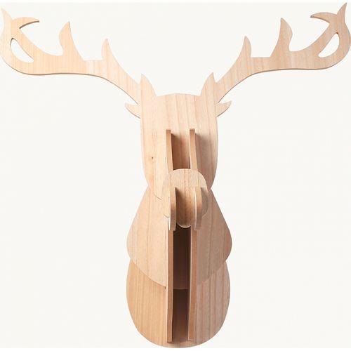 Tête de Renne murale en bois MDF 60 x 50 x 38 cm