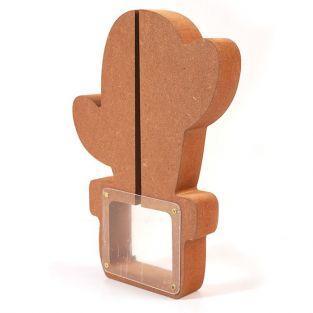 Cactus money box in MDF wood 25 x 18 x 3 cm