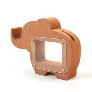 Elephant money box in MDF wood 15 x 11 x 3 cm