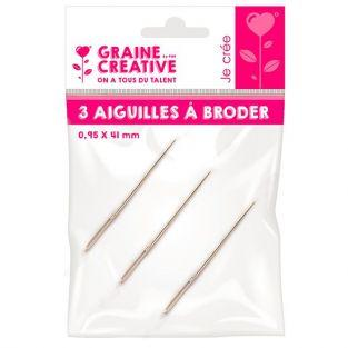 3 embroidery needles 4.1 cm x 0.95 mm