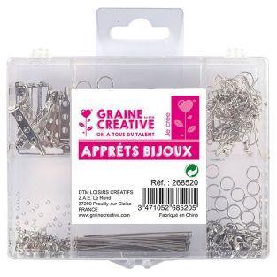 Kit accesorios de joyería plateados x 400