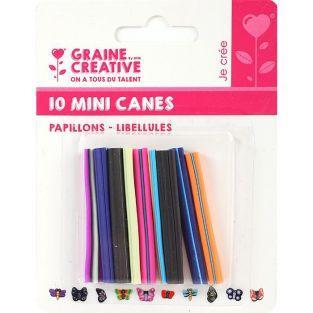 10 mini canes FIMO à trancher 5 x 0,5 cm - Papillons & libellules
