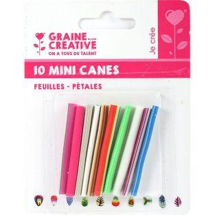 10 mini FIMO canes to slice 5 x 0.5 cm - Leaves & petals