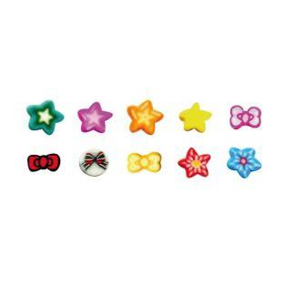 10 mini FIMO canes to slice 5 x 0.5 cm - Knots & stars