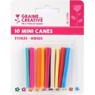 10 mini canes FIMO à trancher 5 x 0,5 cm - Nœuds & étoiles