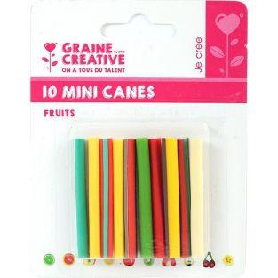 10 mini canes FIMO à trancher 5 x 0,5 cm - Fruits