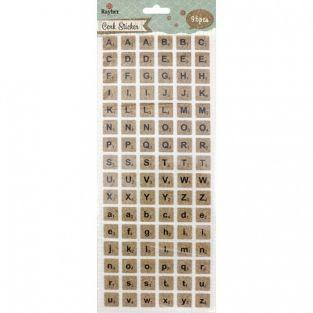 Cork Scrabble Stickers - alphabet in uppercase and lowercase letters