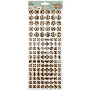 Round cork stickers - Alphabet in uppercase and lowercase letters