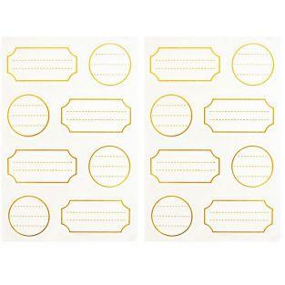 128 étiquettes autocollantes blanches à contour doré
