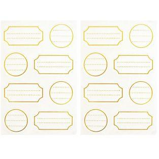 128 white adhesive labels with golden outline