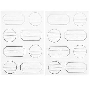 128 white adhesive labels with silver outline