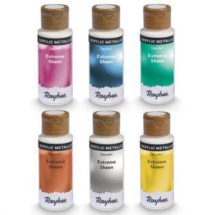 6 botellas de pintura acrílica con efecto metálico - 59 ml