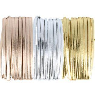 3 cordons en cuir 5 m x 4 mm - doré, argenté, cuivré