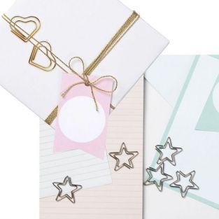 20 clips de papel corazones y estrellas