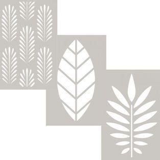 3 pochoirs en plastique tropicaux 10 x 15 cm