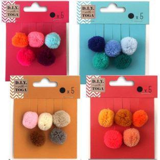 20 pompones redondos de lana 2 cm