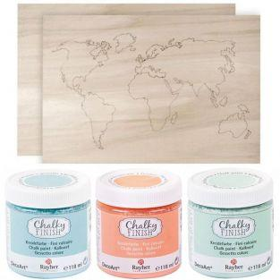 Wooden world map 42 x 29,7 cm + 3 chalk-paint colors