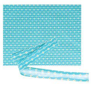 Fabric 55 x 45 cm & sewing bias 3 m x 2 cm - Light blue with orange & blue lozenges