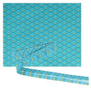 Tissu 55 x 45 cm & biais de couture 3 m x 2 cm - Bleu clair à fleurs