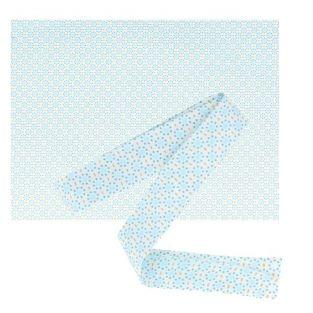 Fabric 55 x 45 cm & sewing bias 3 m x 2 cm -Light blue with blue dots