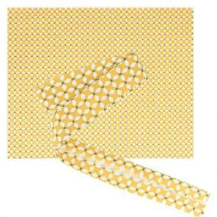 Tissu 55 x 45 cm & biais de couture 3 m x 2 cm - Croix jaunes