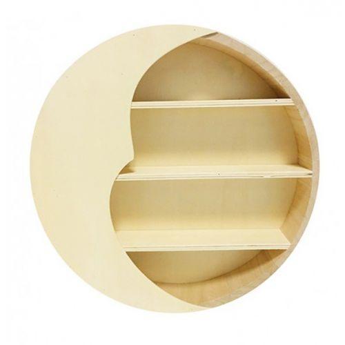 Etagère en bois croissant de lune 29,6 x 29,6 x 6 cm
