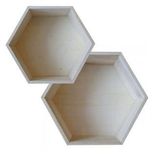 2 hexagonal wooden shelves - 27 x 23,5 cm & 30 x 26,5 cm